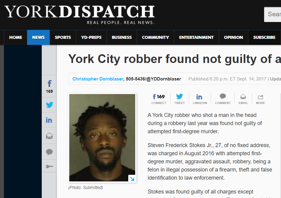 York Dispatch: York City robber found not guilty of attempted murder